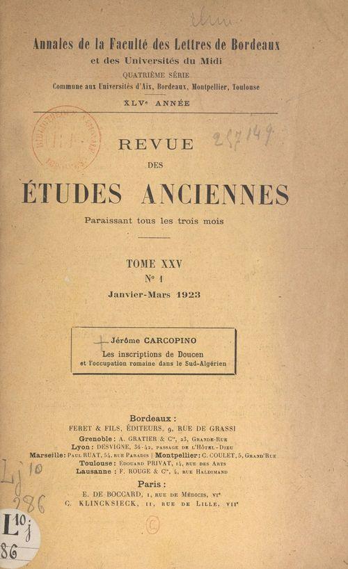 Les inscriptions de Doucen et l'occupation romaine dans le Sud-Algérien
