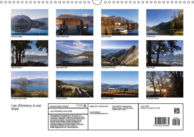 Lac d'Annecy à vue d'oeil (calendrier mural DIN A4 horizontal)