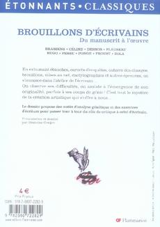 Brouillons d'écrivains ; du manuscrit à l'oeuvre
