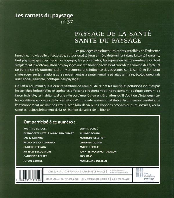 Les carnets du paysage n.37 ; paysage de la sante, sante du paysage