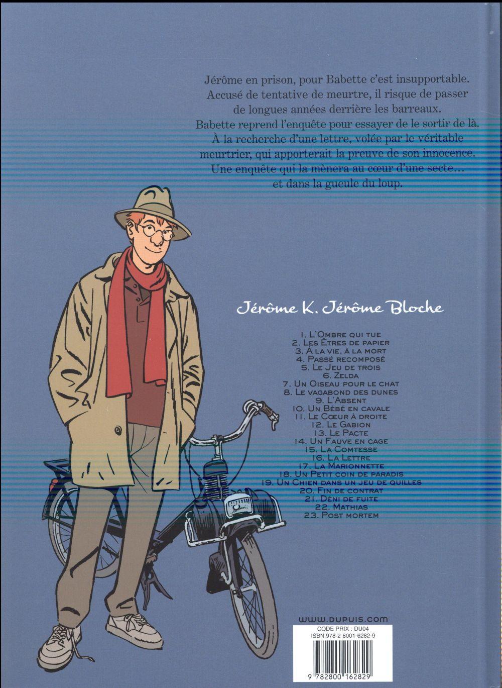 Jérôme K. Jérôme Bloche t.16 ; la lettre