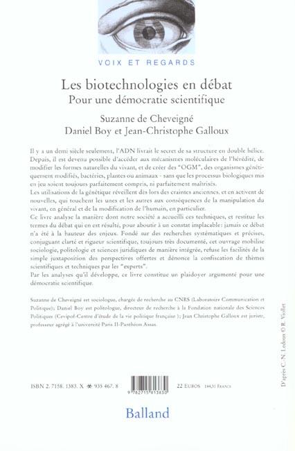 Les biotechnologies en debat ; pour une democratie scientifique