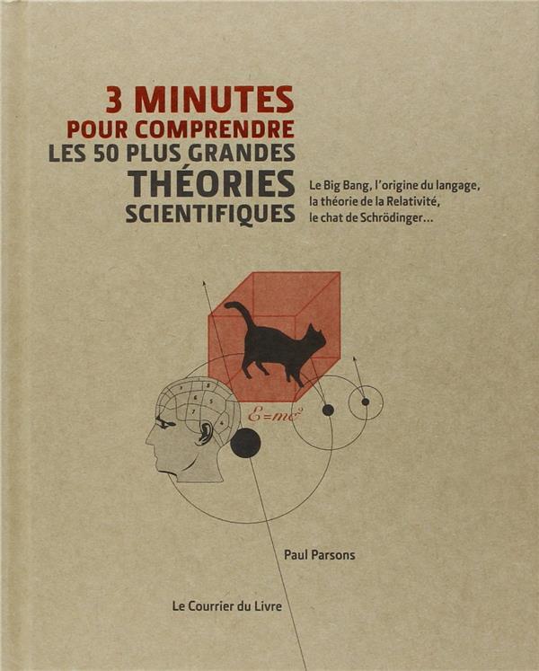 3 minutes pour comprendre ; les 50 plus grandes théories scientifiques ; le Big Bang, l'origine du langage, la théorie de la Relativité, le chat de Schrödinger...