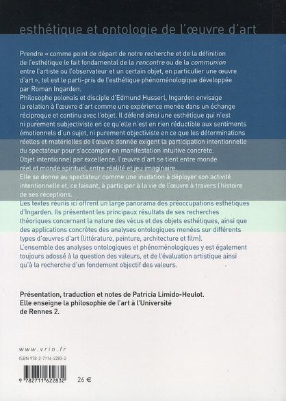 Esthétique et ontologie de l'oeuvre d'art ; choix de textes 1937-1969