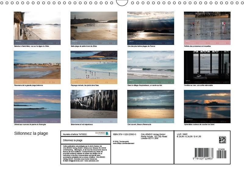 Sillonnez la plage ; lumière d'un jour à Saint-Malo (calendrier mural DIN A3 horizontal) (édition 2017)