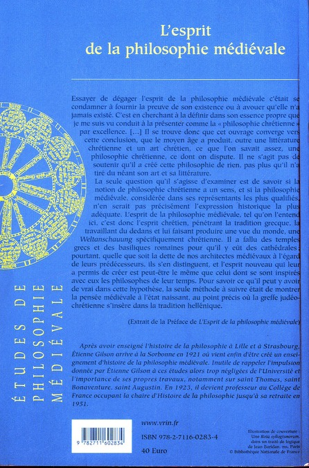 L'esprit de la philosophie médiévale