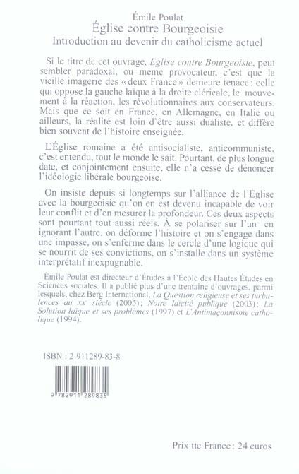 Eglise contre bourgeaoisie: introduction au devenir du catholicisme actuel