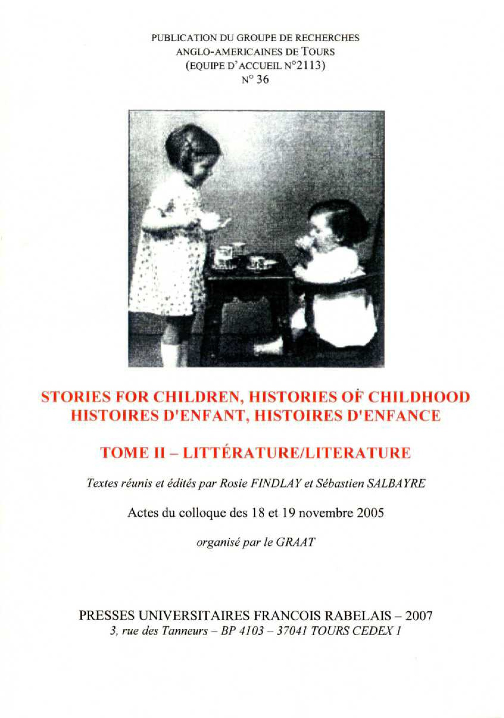 Stories for children histories of childhood / histoires d enfant histoires d enf