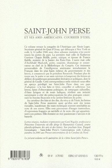 Les cahiers de la NRF ; courrier d'exil ; Saint-John Perse et ses amis américains 1940-1970