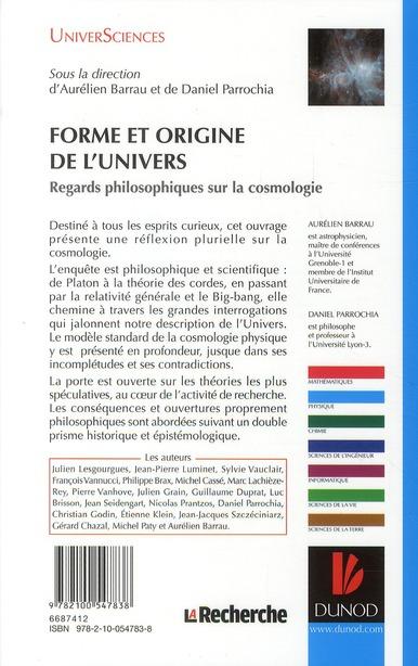 Forme et origine de l'Univers ; regards philosophiques sur la cosmologie