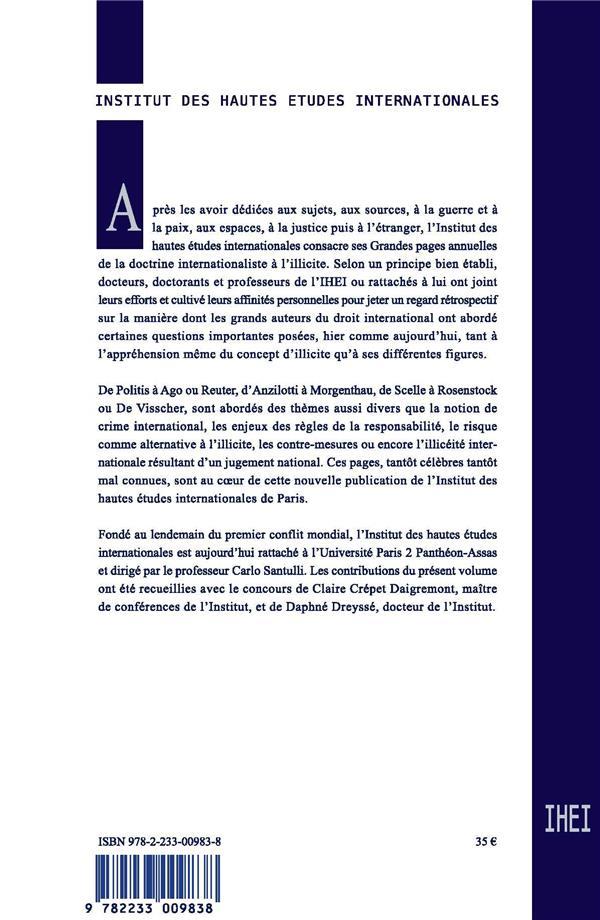 grandes pages du droit international t.7 ; l'illicite