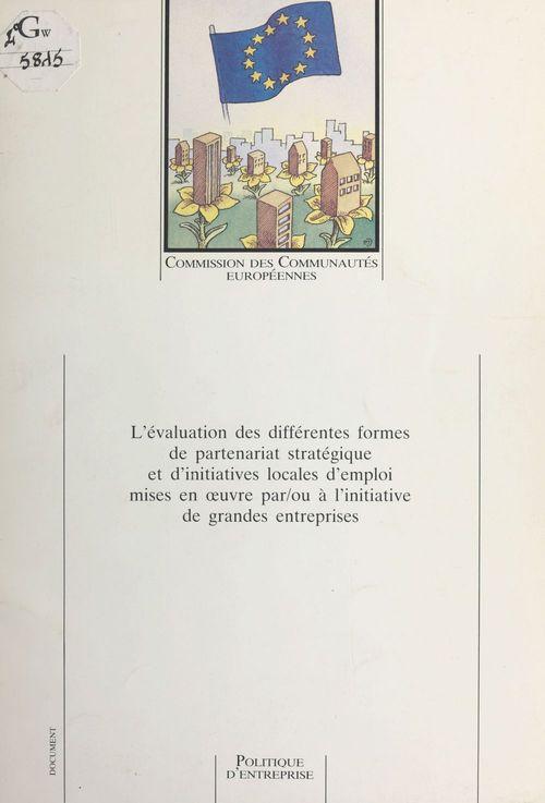 L'évaluation des différentes formes de partenariat stratégique et d'initiatives locales d'emploi mises en oeuvre par/ou à l'initiative de grandes entreprises