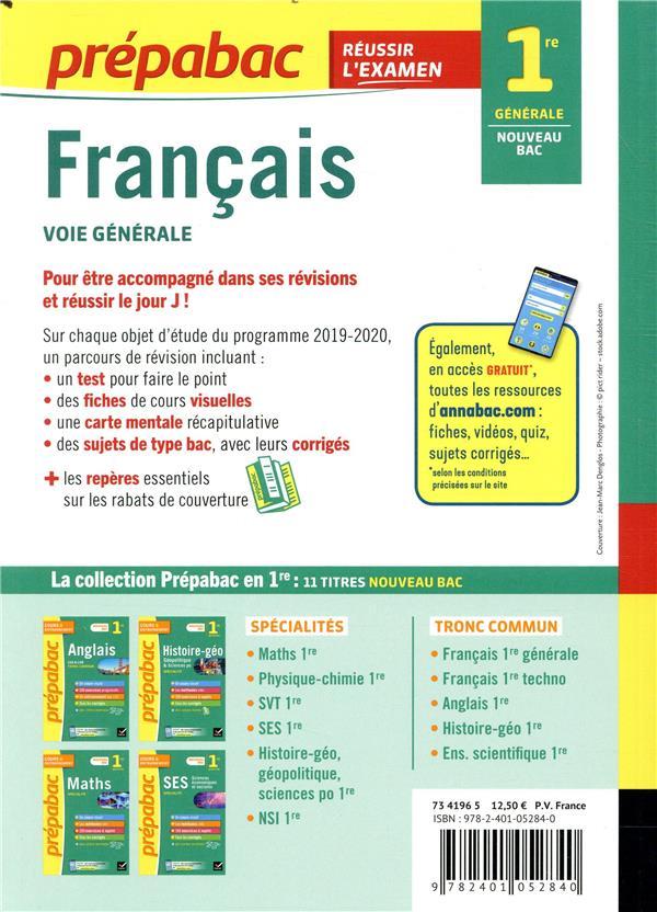 prépabac réussir l'examen ; français ; 1re générale (édition 2020)