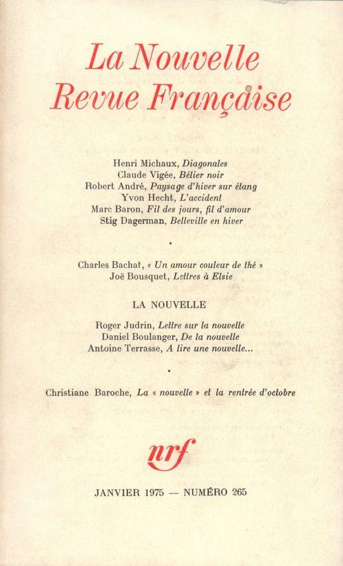 La Nouvelle Revue Française N° 265