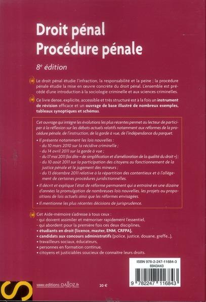 Droit pénal, procédure pénale (8e édition)