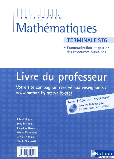 Mathématiques ; terminale STG ; spécialité communication et gestion des ressources humaines ; livre du professeur (édition 2006)