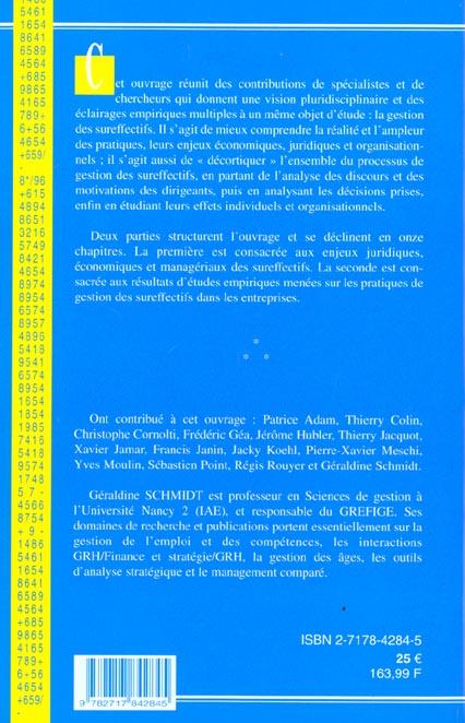 La gestion des sureffectifs ; enjeux et pratique ; recherche en gestion ; edition 2001