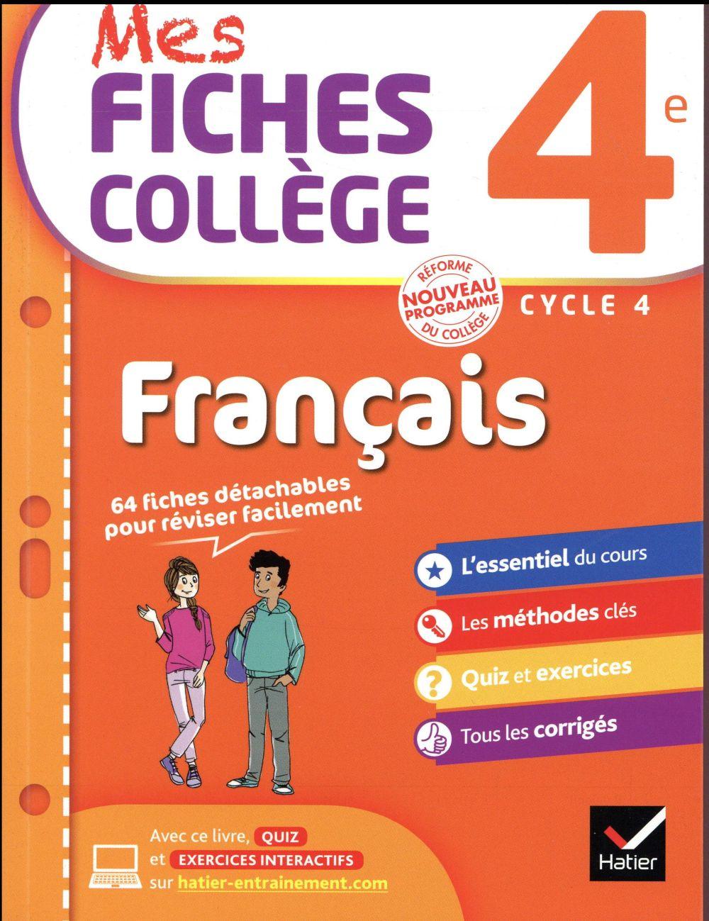 MES FICHES COLLEGE ; français ; 4ème
