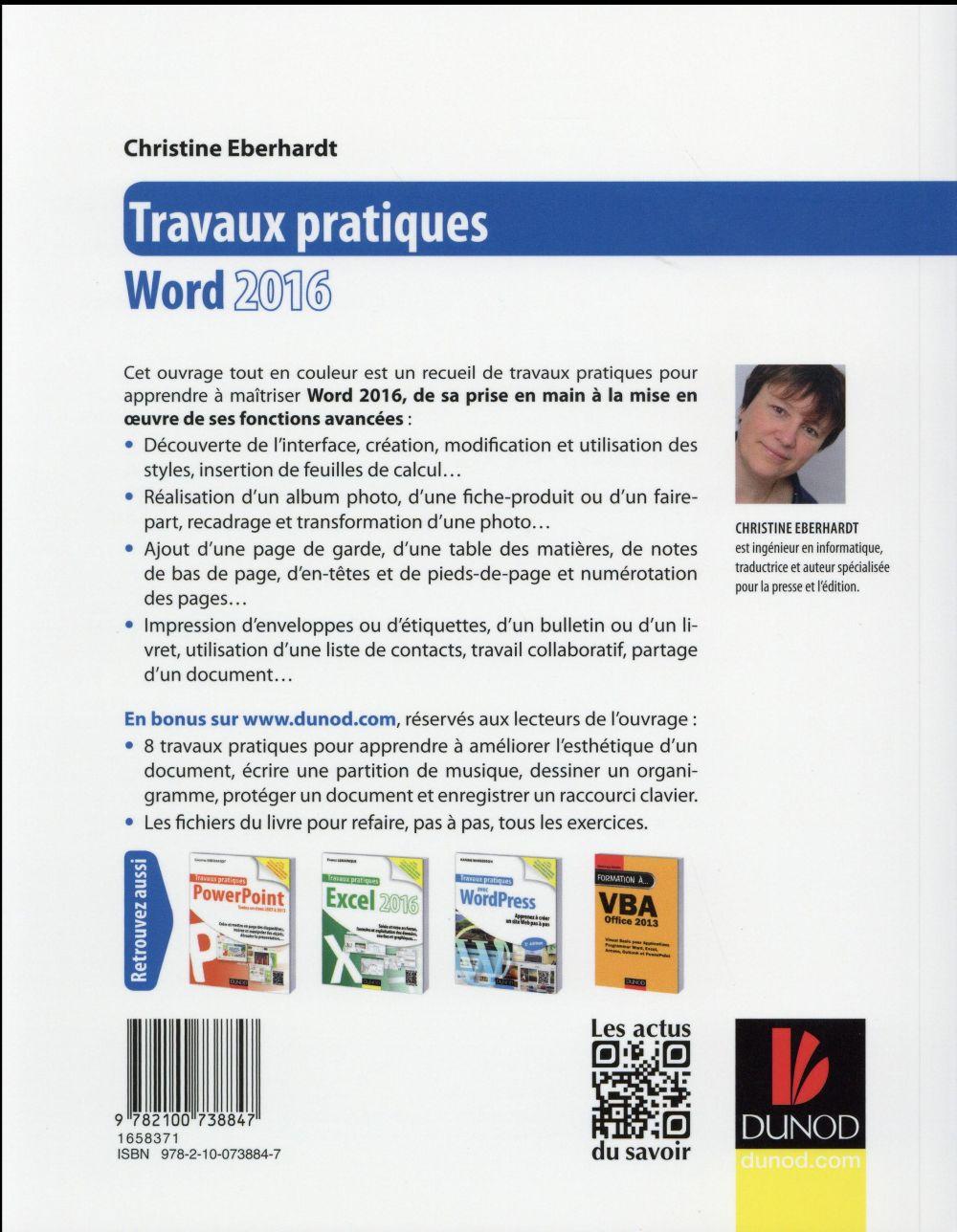 Travaux pratiques avec Word ; mise en page et mise en forme, insertion d'images, document long, tableaux, publipostages