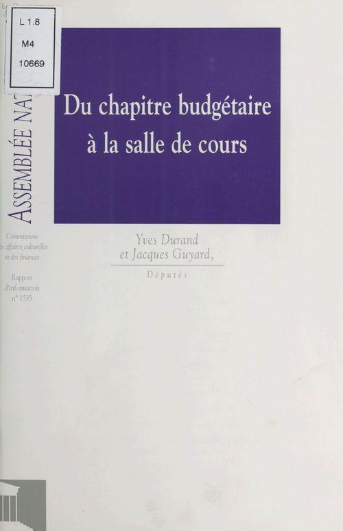 Du chapitre budgétaire à la salle de cours