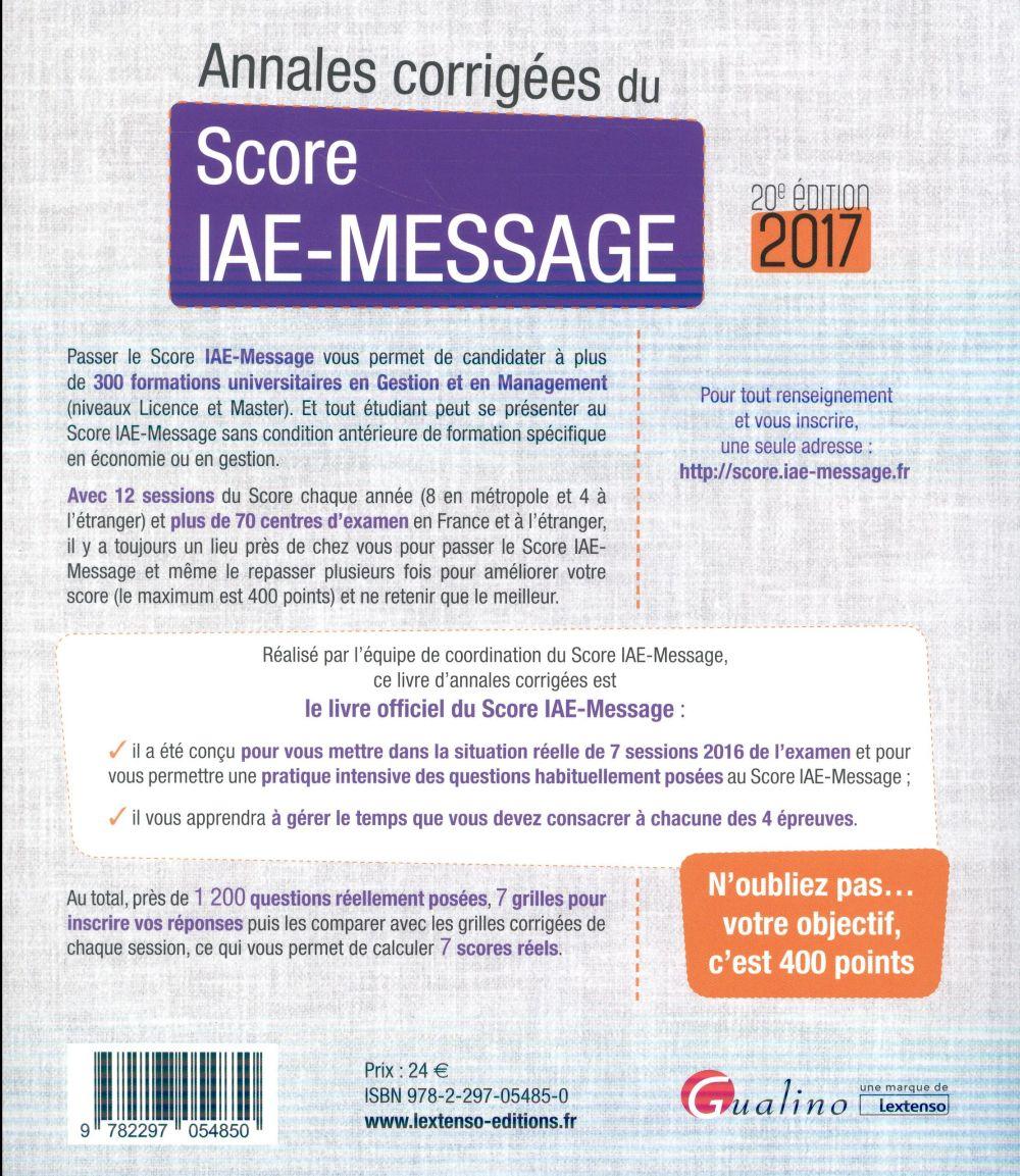 Annales corrigées du Score IAE-Message 2017