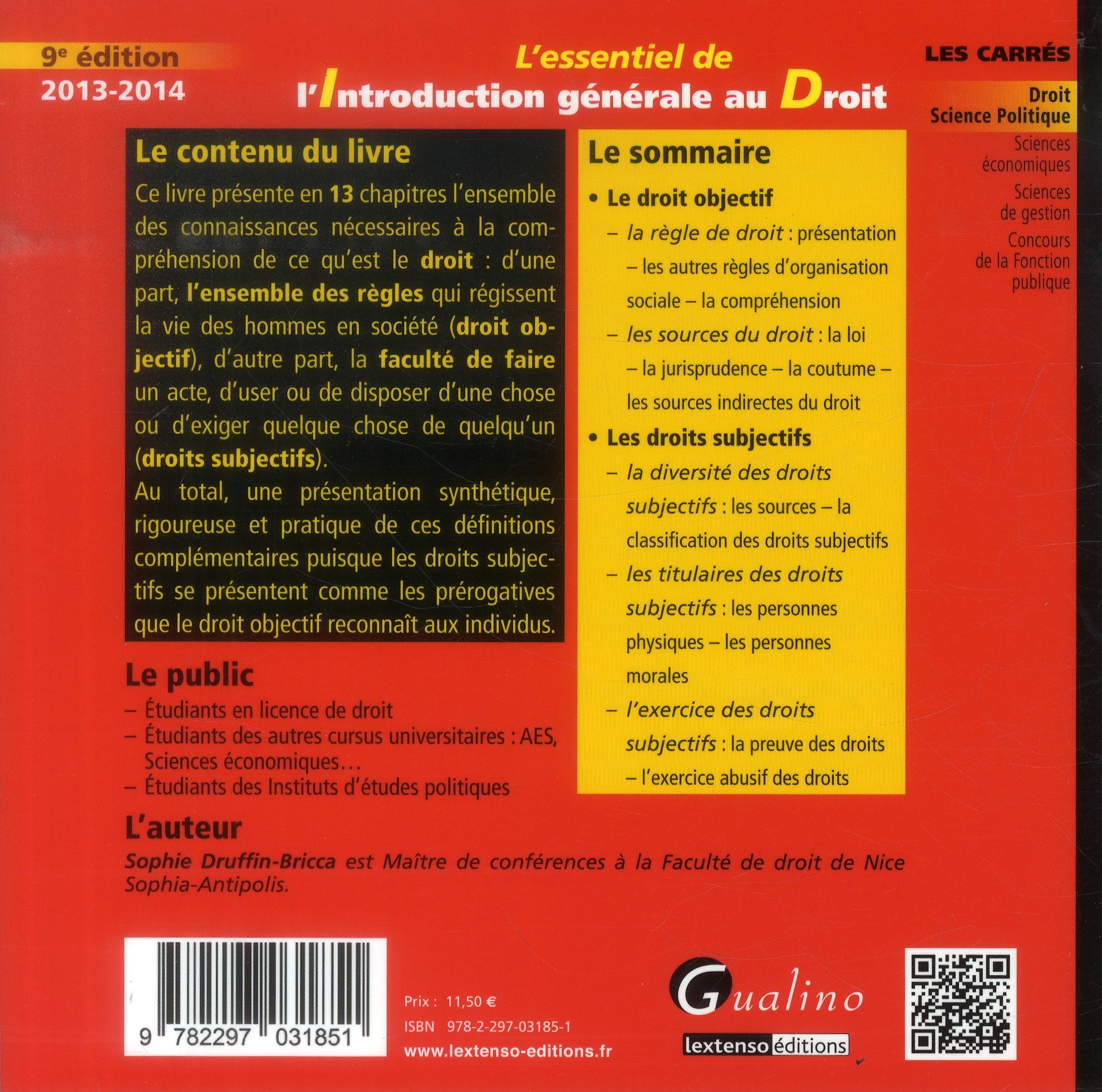 L'introduction générale au droit (édition 2013-2014)
