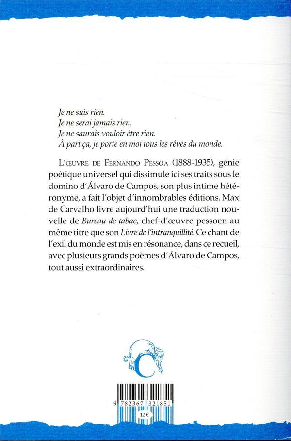 bureau de tabac et autres poèmes d'Alvaro de Campos