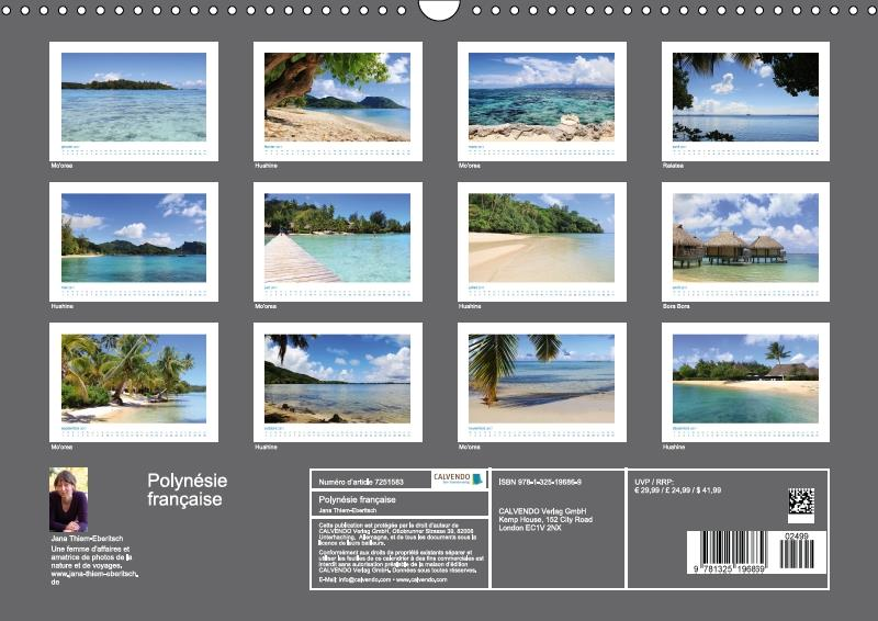 Polynésie française ; des îles de rêve dans le Pacifique Sud (calendrier mural 2017 DIN A4 horizontal)