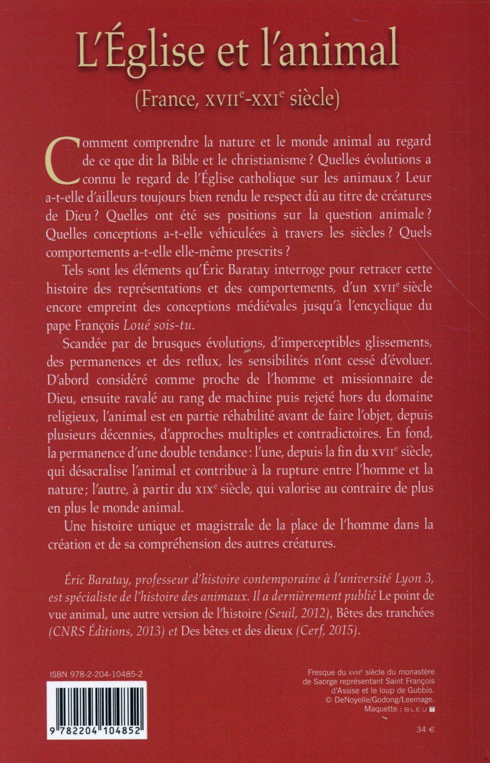 L'Eglise et l'animal (France, XVIIe-XXIe siècle)