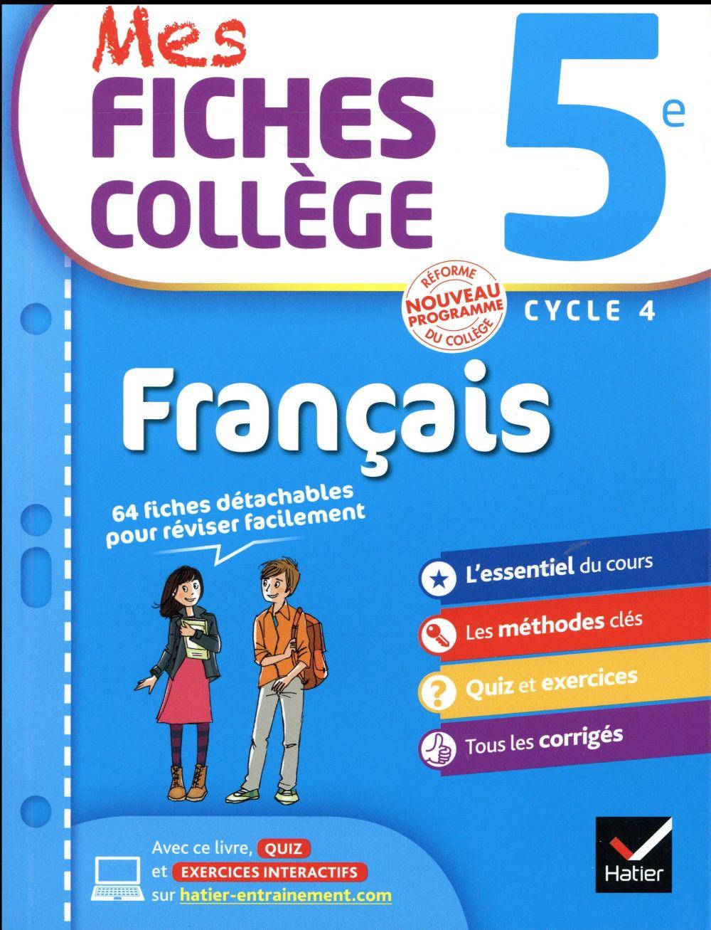 MES FICHES COLLEGE ; français ; 5ème