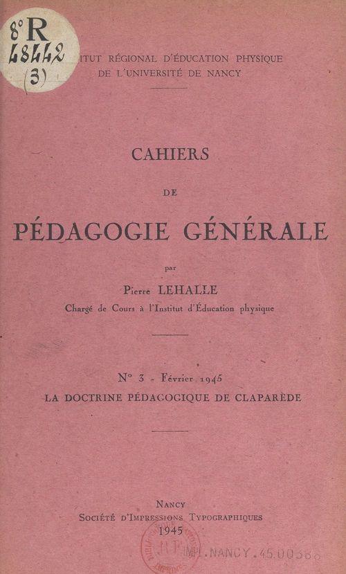 La doctrine pédagogique de Claparède