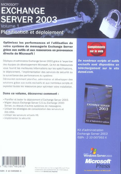 Exchange server 2003 - tome 1 - planification et deploiement