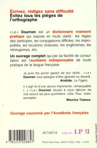 Dictionnaire d'orthographe et des difficultes du francais