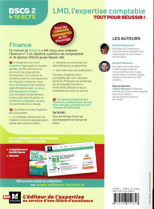 DSCG 2 ; finance ; manuel, applications et corrigés