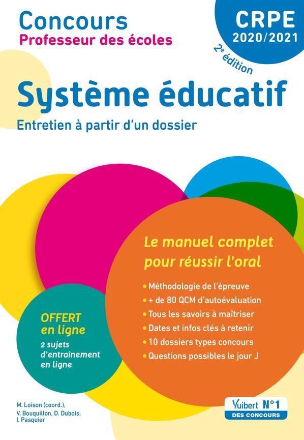 Concours professeur des écoles ; système éducatif, entretien à partir d'un dossier (édition 2020/2021)
