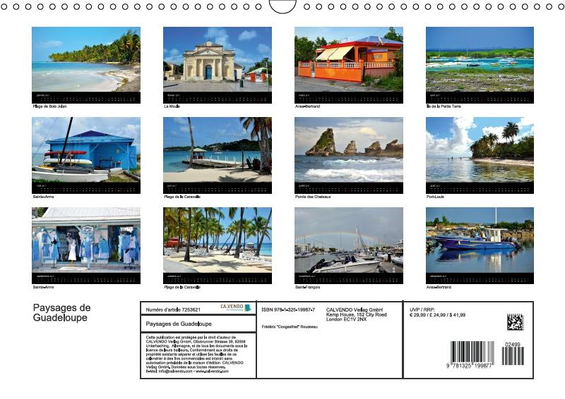 Paysages de Guadeloupe (calendrier mural 2017 DIN A4 horizontal)