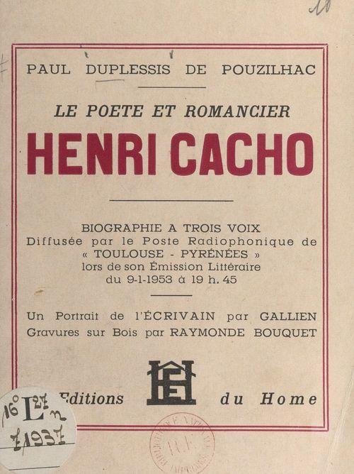 Le poète et romancier Henri Cacho