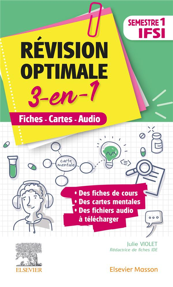 Révision optimale 3 en 1 ; IFSI ; semestre 1 ; fiches-cartes-audio