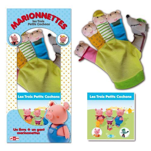 Coffret boîte marionnette les 3 petits cochons