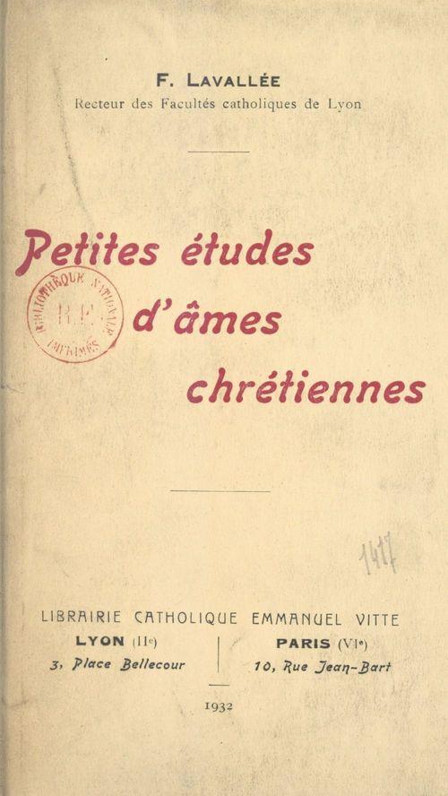 Petites études d'âmes chrétiennes