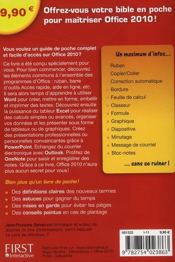 le livre de Word, Excel,  Powerpoint, Outlook & OneNote 2010 en poche