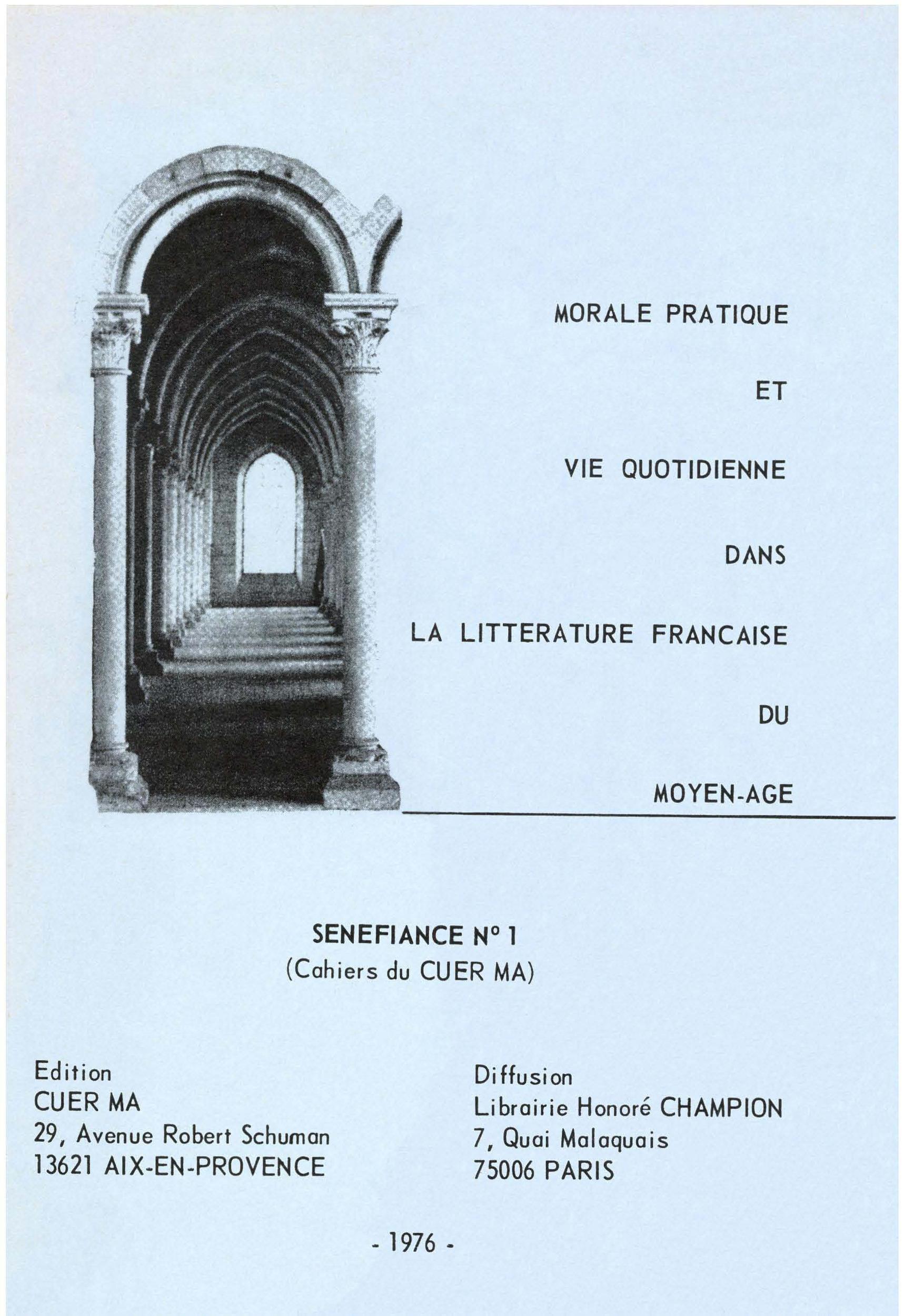 Morale pratique et vie quotidienne dans la littérature française du Moyen Âge
