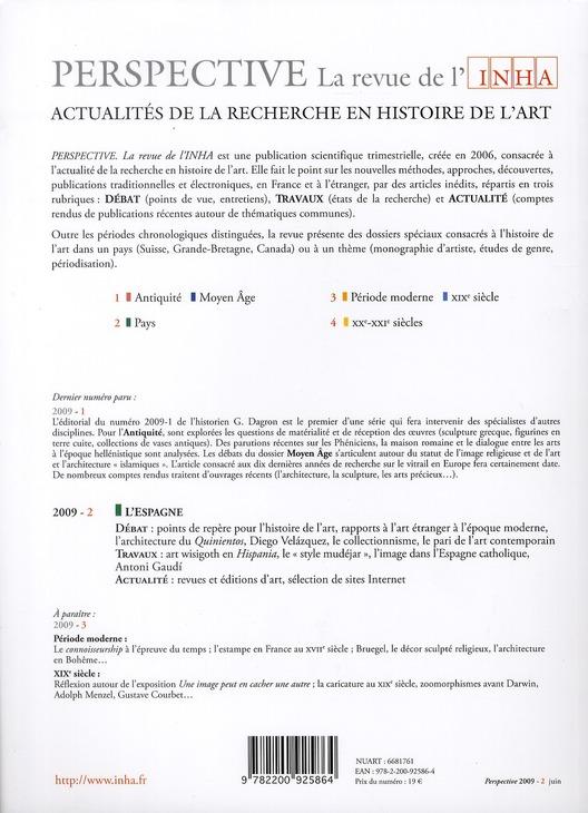 PERSPECTIVE - REVUE DE L'INHA n.2 ; histoire de l'art en Espagne ; 2009/2