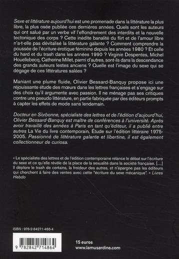 Sexe et littérature aujourd'hui ; petite étude des moeurs dans les lettres françaises