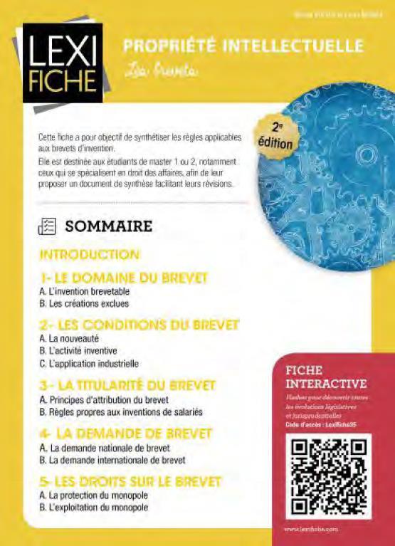 Propriete Intellectuelle ; Les Brevets (2e Edition)