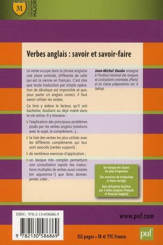 Verbes Anglais Savoir Et Savoir Faire 2e Edition Jean Michel Daube Belin Education Grand Format Le Hall Du Livre Nancy