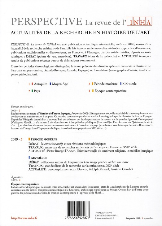 PERSPECTIVE - REVUE DE L'INHA n.3 ; période moderne, XIXe siècle ; 2009/3