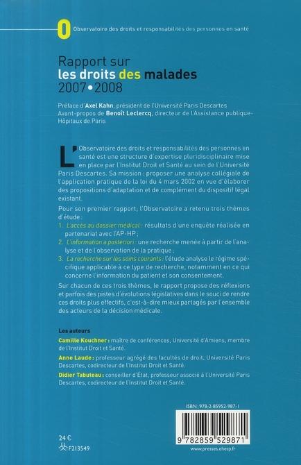 Rapport sur les droits des malades 2007/2008