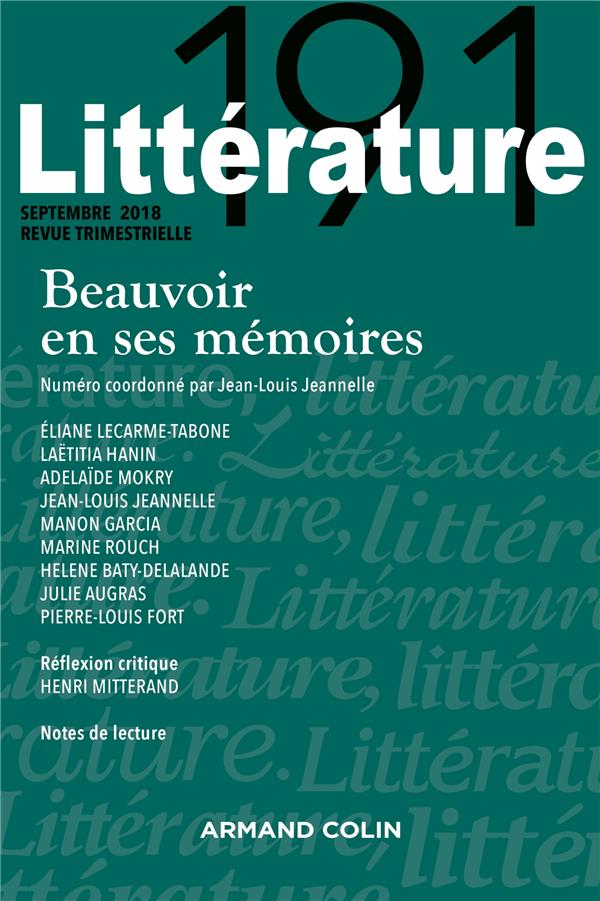 Litterature ; 3/2018 ; Beauvoir En Ses Memoires