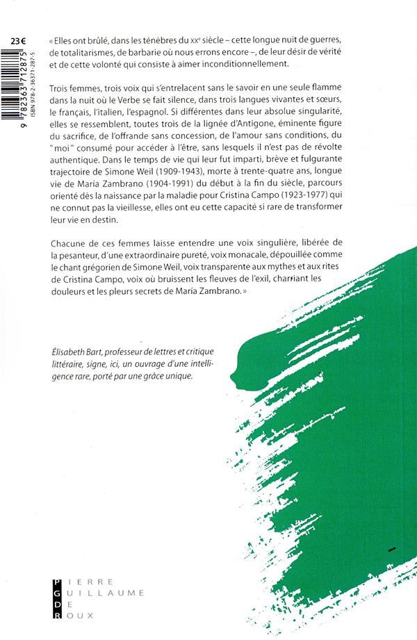 Les incandescentes ; Simone Weil, Cristina Campo et Maria Zambrano